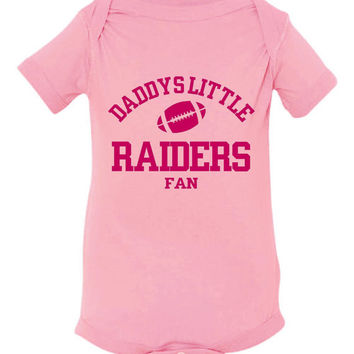 DADDYS LITTLE RAIDERS Fan Girls Pink Toddler Shirt Or Creeper Oakland Raider Fan Football Tshirt