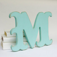 Carnival Style Wood M Letter Distressed Wall Decor by EdiesLab