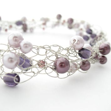 Crochet Wire Beaded Necklace Purple and Silver by MoonlightShimmer