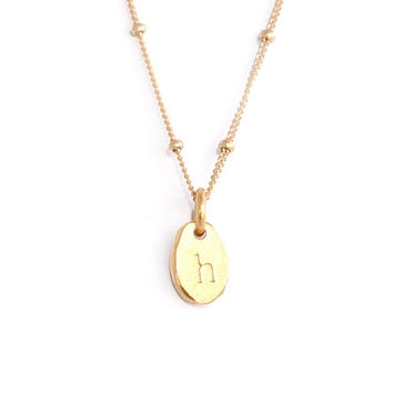 Dainty Gold Bean Necklace-  Gold or Silver - Satellite Chain - Handstamped