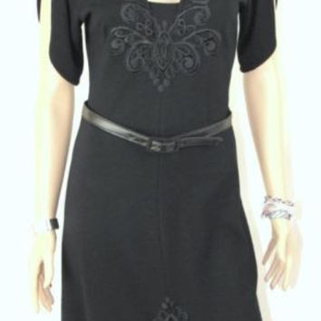 Yoana Baraschi 6 S size Dress Black Belted Knit Lace Embroidered Split Sleeve