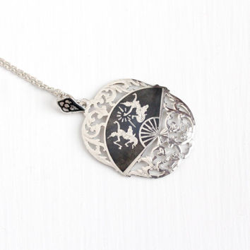 Vintage Sterling Silver Siam Filigree Pendant Necklace - 1940s Mekkala Ramasoon God Goddess Dark Niello Ramakien Legend Statement Jewelry
