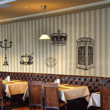 ik2414 Wall Decal Sticker Big Ben London phone booth crown restaurant cafe English style