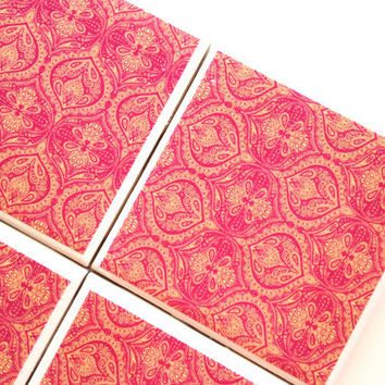 Pink Moroccan Coasters, Ceramic Tile Set, Bar Coaster, Hot Pink Decor, Coaster Sets, Neon Moroccan, Furniture Coaster, Moroccan Decor
