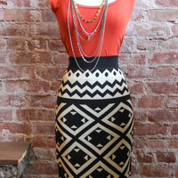 Printed Knit Pencil Skirt | Old Hollywood