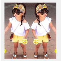 2015 New arrived summer girls outfit casual 3pcs set(cotton white t-shirt+yellow shorts+floral headband) trendy girls clothing sets