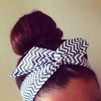 White and Blue Stripe Chevron Dolly Bow Headband by Eindre on Etsy