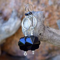 Black Onyx Flower Earrings, Gemstone Jewelry Sterling Handmade Gift