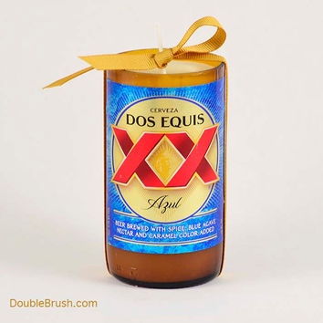 Cerveza Dos Equis Azul Recycled Bottle Candle