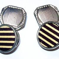 Art Deco Striped Cuff Links Black & White Silver Snap Links Pat 1923 Vintage