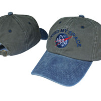 Color Blocking NASA I Need My Space Embroidered Cotton Baseball Sports Cap Hat