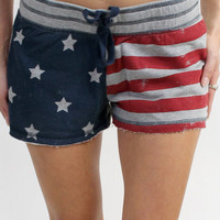 Shop FLAG PRINTED TIE WAIST SHORT by PJ SALVAGE (#MSTAS2) on Diane's Beachwear