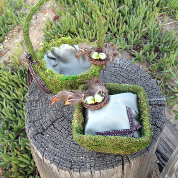 Rustic Woodland Wedding Flower Girl & Ring Bearer Set w/ Moss and Pheasant Feathered Love Bird Nest