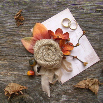 Wedding Corsage, Rustic, Autumn Colors, Fall Wedding, Burlap, Wedding, Rustic Wedding, Wedding Party, Mother of Bride Groom, Orange, Bronze