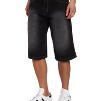 Southpole Men's Belted Denim Shorts 13.5 Inch Relaxed Fit with Back Pocket