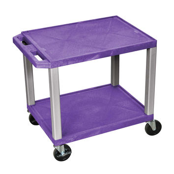 H. Wilson Mobile 2 Shelf Multipurpose Storage Tuffy Utility Cart Lockable Casters No Electrical Outlet Purple Nickel