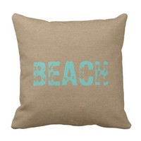 Beach faux burlap linen jute nautical shabby decor throw pillows