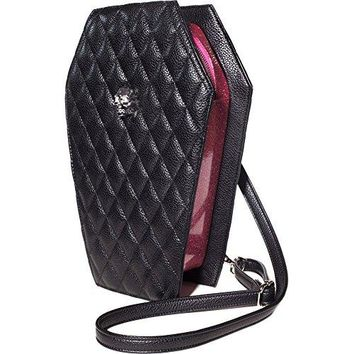 Lux De Ville Elvira Coffin Backpack Matte Black & Pink Bubbly Sparkle