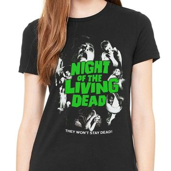 Women's Tee Official Plan 9 Night Of The Living Dead Women's T-shirt Movie Horror Zombie Printing O-neck
