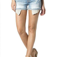 Miss Me Lightwash Lace Pocket Shorts