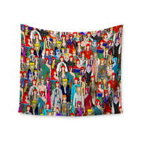"Notsniw	 ""Where's Bowie?"" Red Black Wall Tapestry"