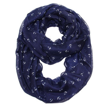 By the Sea Tiny Anchor Infinity Scarf  Navy