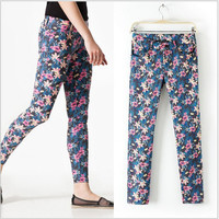 Leaf And Floral Print Skinny Pants With Pockets