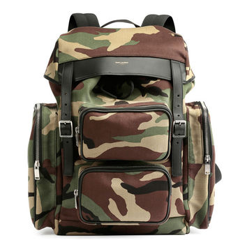 Camo Strapped Backpack by Saint Laurent