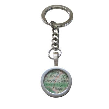 Gettysburg National Military Park Map Pendant Keychain