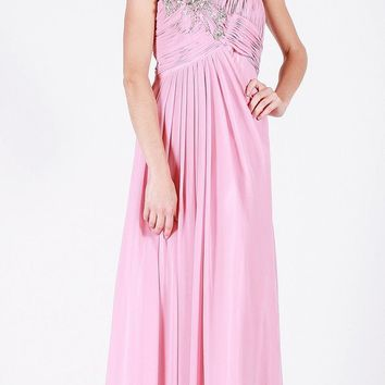 Empire Waist A-Line Long Formal Dress Dusty Rose