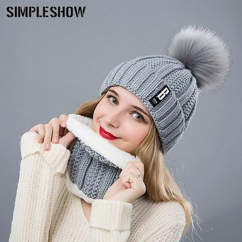 SIMPLESHOW Pompoms Women Winter Hat Scarf Set Girls Boys Warm Knitted Caps Scarves Men Female Sets 2 Pieces Unisex Hats Scarves