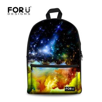 Cool Backpack school FORUDESIGNS Cool Galaxy Star Space Universe Schoolbag for Teenager Girls Boys High School Children Canvas Book Bags Mochila Kids AT_52_3
