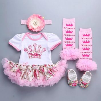 Baby Girl Dresses Summer Lace Wedding Dress headband shoes set 2016 cute floral children Clothes short Sleeve vestido infantil