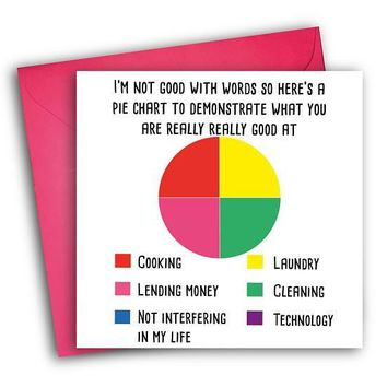 Pie Chart To Demonstrate What You Are Good At Funny Mother's Day Card Card For Her Card For Mom FREE SHIPPING