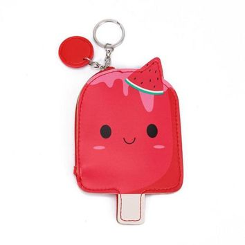Cool Hot Pink Watermelon Ice Cream Popsicle Zippered Coin Purse with Key Ring