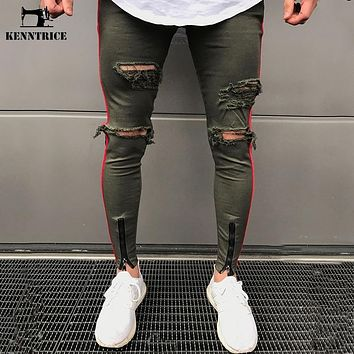 KENNTRICE Skinny Ripped Jeans Men Joggers Hip Hop Pants Black Army Green Military Slim Trousers Hole Fashion Boyfriend Jeans