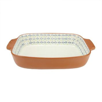 "14"" French Countryside Decorative Green & Blue Flower Rectangular Terracotta Oven Baking Dish"