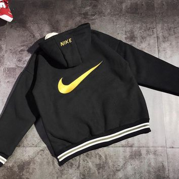 NIKE Winter Classic Fashion Women Men Lambs Wool Zipper Cardigan Jacket Coat Black