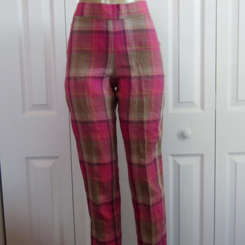 Vintage Madras Plaid Linen Pants, High Waisted Pants, Pink and Tan Plaid, Womens  6 Petite, Summer Pants, Side Zipper, Pendleton Madras