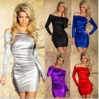 Woman Sexy Off Shoulder Long Sleeves Metallic Cocktail Evening Dress