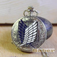 Attack on Titan-Silver Freedom Wing/King Unicorn/Guardianrose Pocket Watch Necklace y124