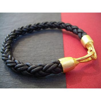 Thick Braided Leather Bracelet with Organic 22k Gold Plated Hook Clasp, Leather Bracelet, Mens Bracelet, Womens Bracelet, Mens Jewelry