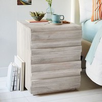 Stria Nightstand - Cerused White