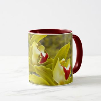 Green Cymbidium Orchids Floral Coffee Mug