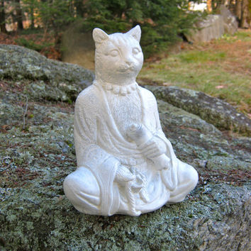 "Buddha Cat With Scroll, 9"" Concrete Feline Statue"