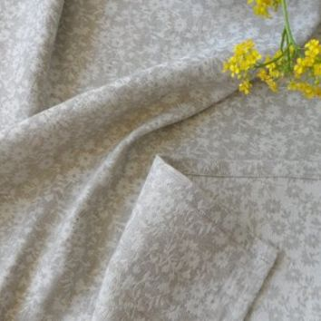 Natural linen tablecloth. Gray jacquard linen tablecloth. Dining tablecloth. Jacquard tablecloth.