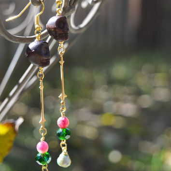 Long Tribal Fleur de Lis Tourmaline Skull Earrings