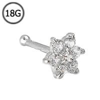14KT White Gold Nose Bone Ring 7mm Post 4.5mm Christina Flower Cluster CZ 18G