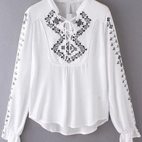 White Embroidery Flare-cuff Blouse