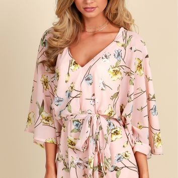 Blooming Today Print Romper Pink